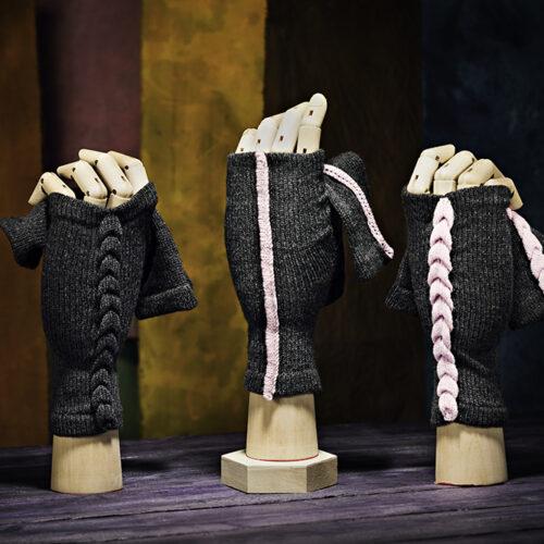 Grey with dusky pink raised seam Urban Aran Fingerless Gloves