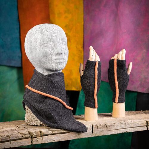 Grey with peach raised seam Urban Aran Fingerless Gloves